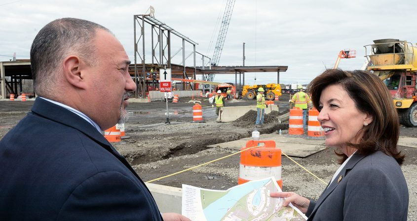 Lieutenant Governor Kathleen C. Hochul visits the Rivers Casino & Resort Schenectady construction site March 15, 2016. Talking with Hochul is Joe Scibetta, V.P. of Operations, Rush Street Gaming.