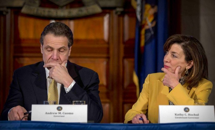 This photo from Feb. 25, 2015, shows Gov. Andrew Cuomo, left, and Lt. Gov. Kathy Hochul in Albany.