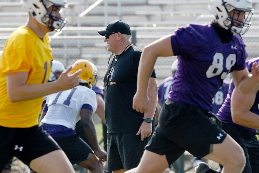 UAlbany football head coach Greg Gattuso during practice at Casey Stadium in Albany on Friday.