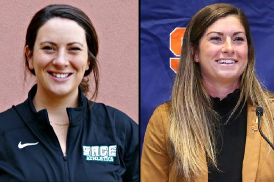 Alyssa Treanor, left, is the new women's lacrosse head coach at Russell Sage. Kayla Treanor, right, the coach at Syracuse. Photos provided
