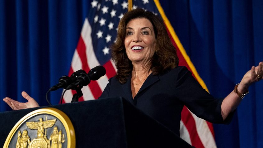 Lt. Gov. Kathy Hochul gestures as she addresses members of the media at a news conference in the Blue Room at the State Capitol in Albany Wednesday, August 11, 2021.