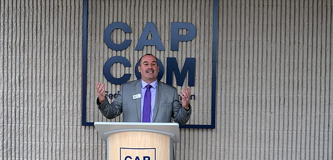 CAP COM President and CEO Chris McKenna speaks at the credit union's new Glenville branch on Wednesday, Aug. 11, 2021.