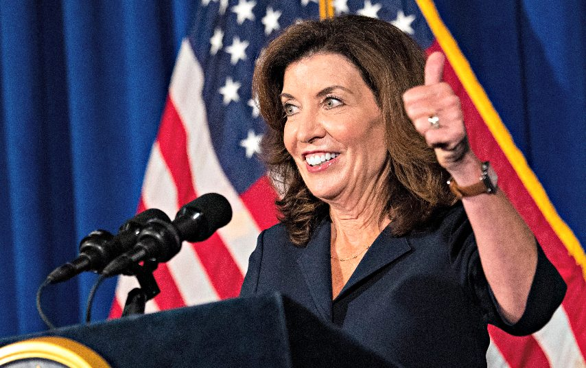 Lt. Gov. Kathy Hochul gives the thumbs up as she addresses members of the media at a news conference in the Blue Room at th State Capitol in Albany Wednesday, August 11, 2021.