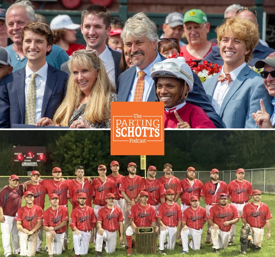Top: Horse racing Steve Asmussen celebrates a milestone win. Bottom: The Albany Athletics pose with the Albany Twilight League championship plaque.