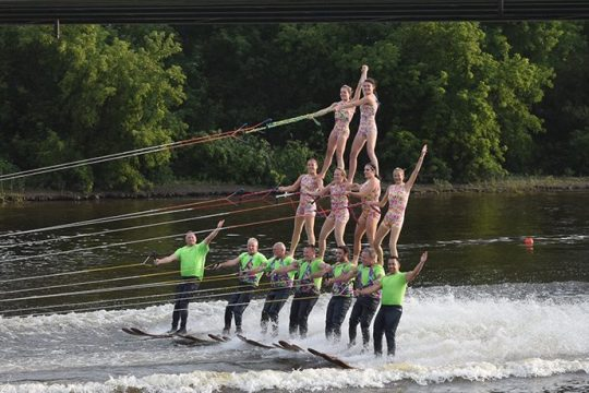 The U.S. Water Ski Show team performs in front of fans at Jumpin' Jacks Drive-In in Scotia on a recent Tuesday evening.