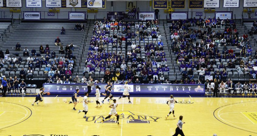PETER R. BARBER/GAZETTE PHOTOGRAPHER The game clock stopped working during the University at Albany Women's basketball game against Maine in the America East Women's Championship at SEFCU Arena Friday, March 10, 2017.