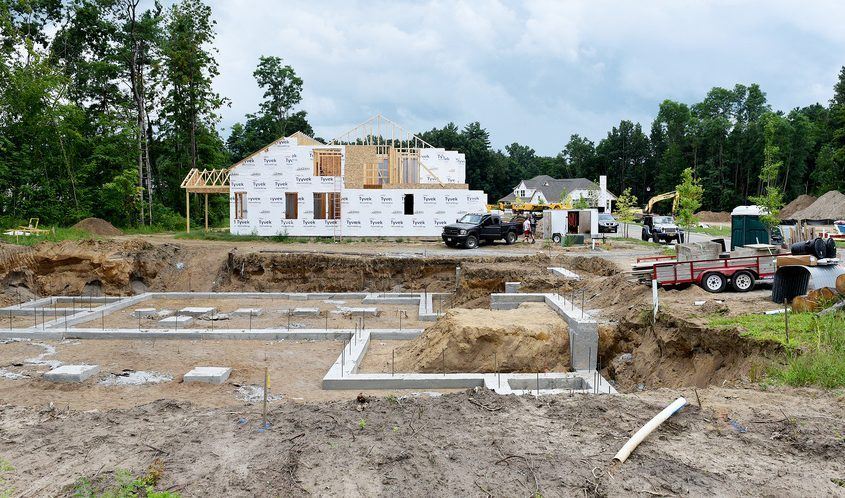 Construction continues at the Regatta View development by Belmonte Construction in Saratoga Springs on Thursday.