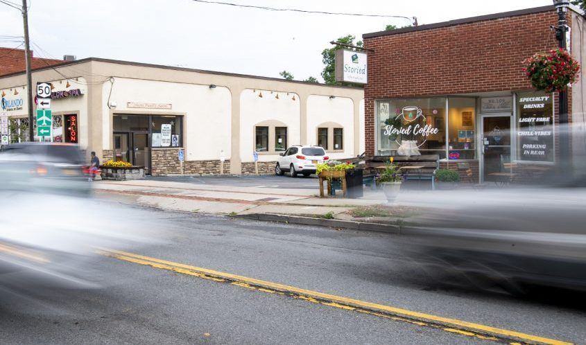 Traffic passes in front of the Storied Cafe on Mohawk Avenue in Scotia on Thursday.
