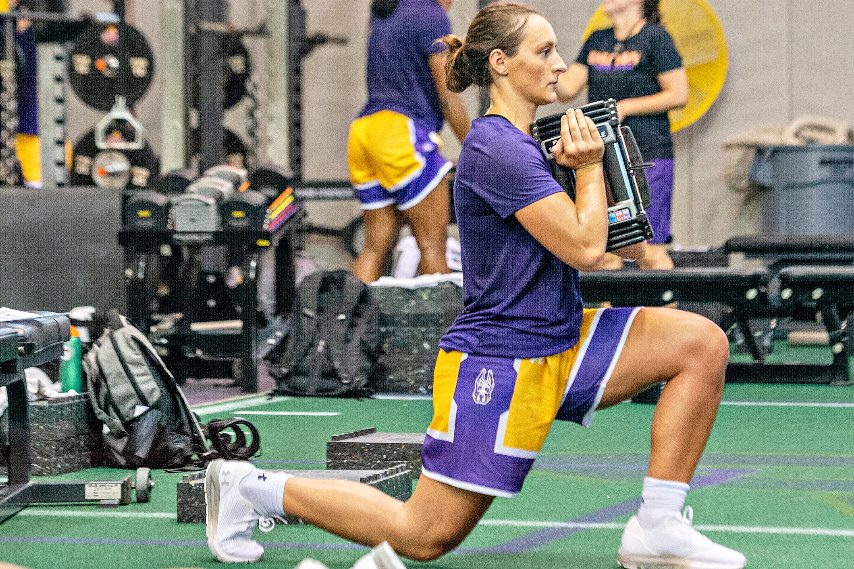 UAlbany women's basketball's Morgan Haney is shown earlier this summer working out.