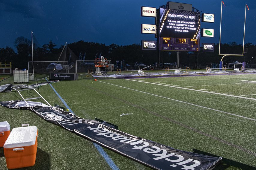 Backstop nets and advertising banners were toppled as part of the storm that caused more than three hours of delays during the first Premier Lacrosse League game on Friday night at Tom & Mary Casey Stadium in Albany.