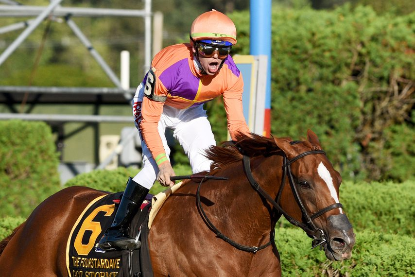 Jockey Tyler Gaffalione reacts as Got Stormy wins the Fourstardave at Saratoga for the second time in three years.