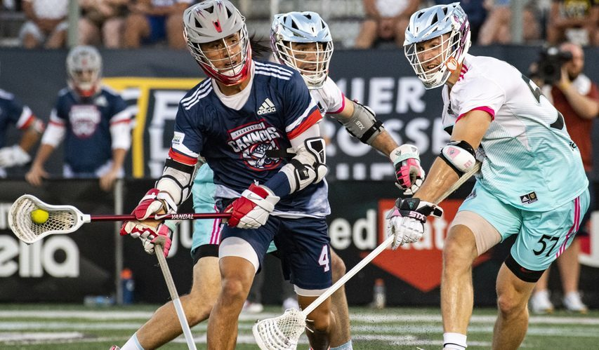 Lyle Thompson of the Cannons tries to take a shot between Chrome's John Ranagan, left, and Greg Weyl during a Premier Lacrosse League game atCasey Stadium in Albany on Saturday.