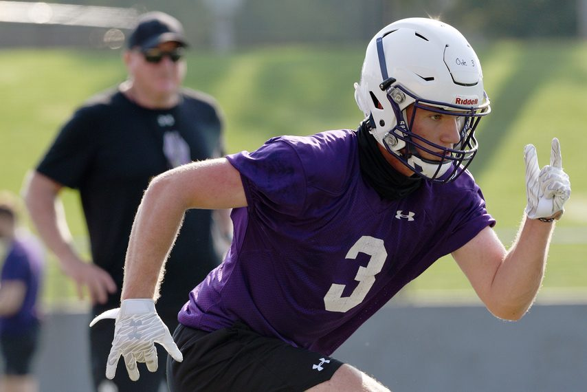 UAlbanywide receiverTyler Oedekoven during football practice at Tom & Mary Casey Stadium in Albany on Aug. 6.