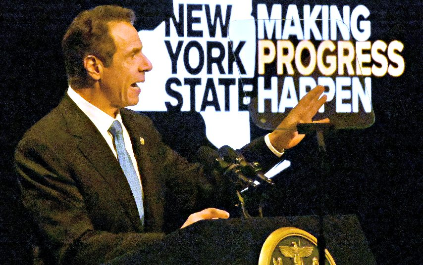 Gov. Andrew M. Cuomo gives the State of the State in Albany on Wednesday, January 8, 2020.