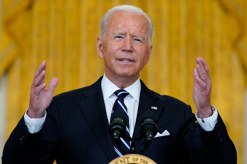 President Joe Biden speaks from the East Room of the White House in Washington, Wednesday, Aug 18, 2021, on the COVID-19 response and vaccination program. U.S. health officials Wednesday announced plans to offer COVID-19 booster shots to all Americans to shore up their protection amid the surging delta variant and signs that the vaccines' effectiveness is falling. (Susan Walsh/The Associated Press)