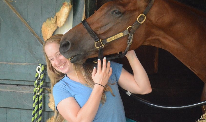 Trainer Keri Brion with French Light in the stakes barn at Saratoga Race Course on Wednesday morning in Saratoga Springs.