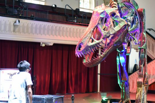 Tobias Prizio, 14, of Scotia puts a Tyrannosaurus in motion as part of the Dinosaurs in Motion exhibit at the Universal Preservation Hall in Saratoga Springs in July.