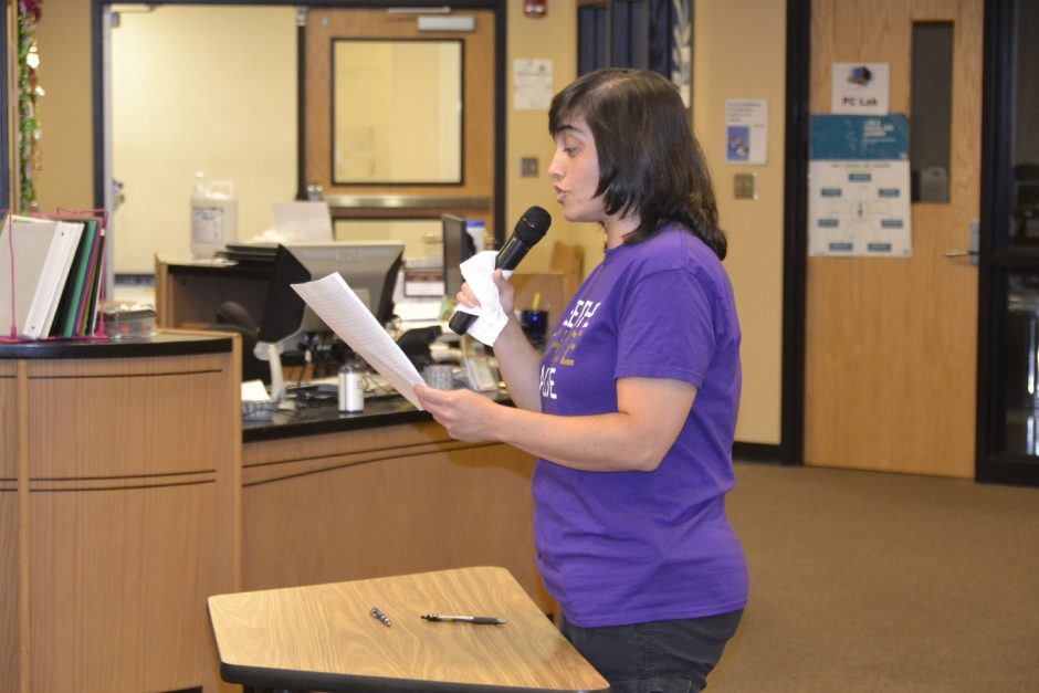 Christina Morley speaks during the public comment portion of Wednesday's Board of Education meeting at Amsterdam High School.
