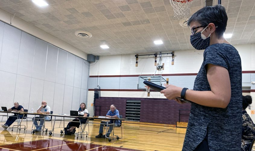 Kyra Romanello calls for masking regulations during the Fort Plan school boardmeeting Wednesday.