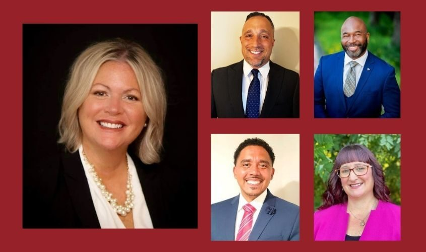 From left, clockwise: deputy superintendent Lynne Rutnik, executive director of elementary schools Joseph R. DiCaprio, assistant superintendent of planning and accountability Shaun M, Mason, assistant superintendent of innovation, equity and engagement Carlos M. Cotto, Jr.,assistant superintendent of student support services Andrea Tote-Freeman