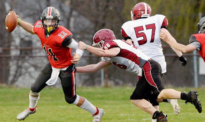 Niskayuna's Dan Quinn with the ball against Scotia-Glenville during their high school football game at Niskayuna High Schoolin April.