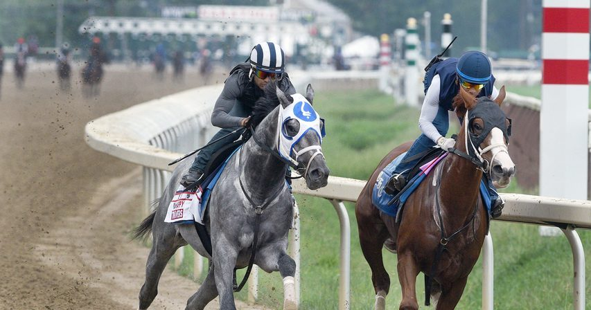 Essential Quality, left, works in company with stablemate Bonny South on the Saratoga main track on Saturday morning.