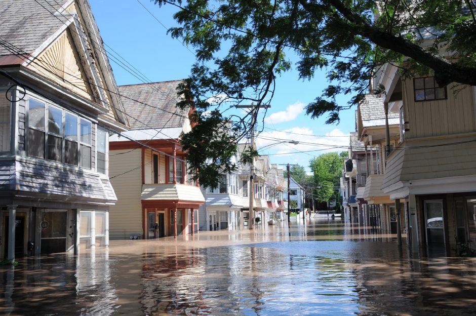Flooding on Ingersoll Avenue in Schenectady's Stockade section following Tropical Storm Irene on Aug. 29, 2011.