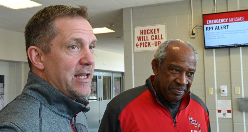RPI hockey head coach Dave Smith, left, and RPI athletic director Lee McElroy speak during a March 8, 2020 press conference at Houston Field House.
