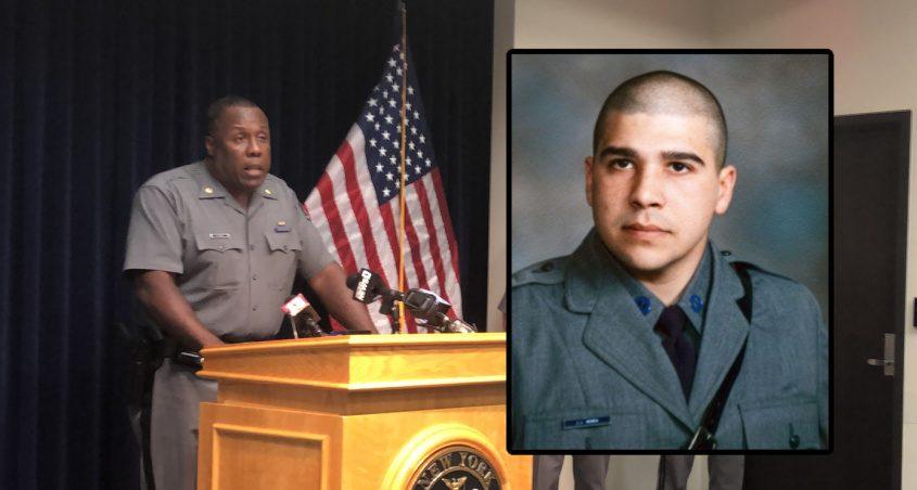 New York State Police Major Christopher West speaks at a press conference Monday; Inset: Trooper James J. Monda