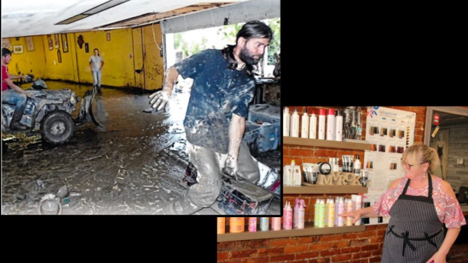 Cleanup after Irene in 2011, left; Leslie Price, Schoharie resident, village clerk/treasurer and owner of J. Lacy Unisex Hair Salon and Barber Shop, shows how high flood water rose inside her salon