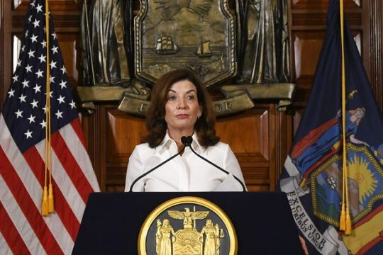 New York Gov. Kathy Hochul speaks to reporters Tuesday