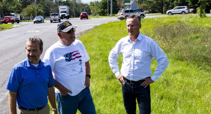 Glenville Supervisor Chrisr Koetzle, left, discusses theproposed Legacy Park for veterans with Vietnam War veteran Larry Zeglen, center, and Richbell Capital President William M. Hoblock, who donated the land at the intersection of Route 50 and Dutch Meadows Lanefor the project.