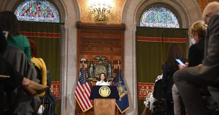 New York Gov. Kathy Hochul speaks to reporters after a ceremonial swearing-in ceremony at the state Capitol, Tuesday, Aug. 24, 2021, in Albany, N.Y.