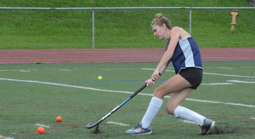 Johnstown's Reegan Wilcox takes a shot during field hockey practice on Monday, Aug. 23 at Knox Field.
