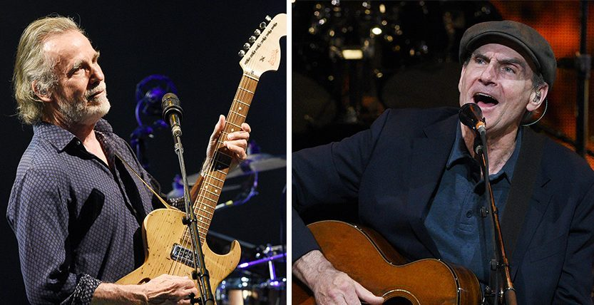 Jackson Browne, left, and James Taylor perform at Saratoga Performing Arts Center Tuesday night.