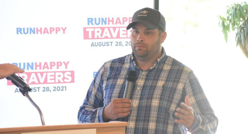 Trainer Brad Cox discusses his colt Essential Quality's prospects for the Travers Stakes after the post position draw on Wednesday at Saratoga Race Course's Marylou Whitney Pavilion.