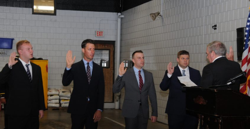Firefighter recruits from left to right:  Edward Harasiemowicz III, James Myers, Timothy LeBlanc and Andrew DeCocco