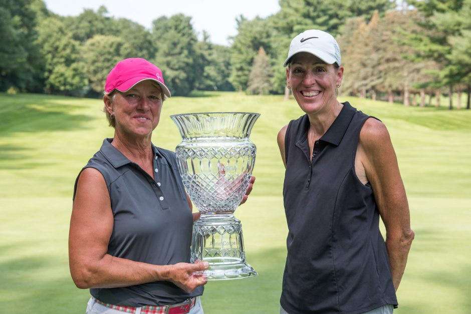 Kim Kaul, left, of East Aurora Country Club, won the New York State Women's Senior Amateur by four shots over Teresa Cleland, right, of Bellevue Country Club on Wednesday at Pinehaven Country Club in Guilderland.NYSGA Photo.