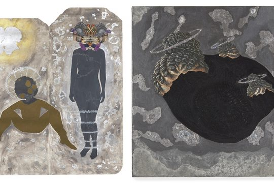 """Left: """"Afronauts and Ancestors"""" by Alisa Sikelianos-Carter. On view at the Mandeville Gallery as part of """"In the Eye of Belonging."""" Right: """"Home"""" by Sikelianos-Carter from the exhibit."""