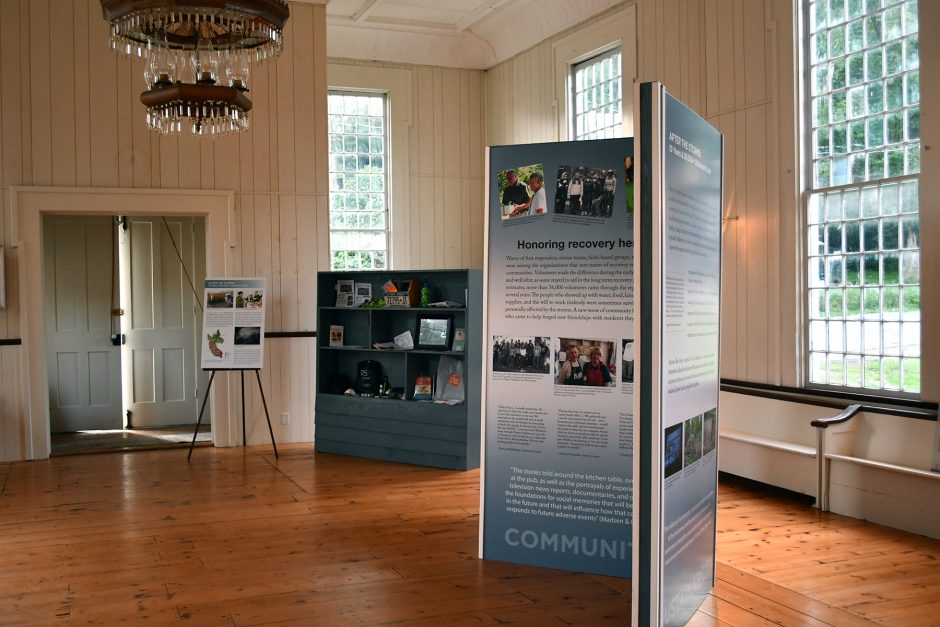 """A view inside the exhibition """"After the Storms: 10 years and 36,000+ Volunteers Later,"""" which will be on display at the Schoharie River Center's Cultural Hall in Esperance weekends through September starting Saturday."""