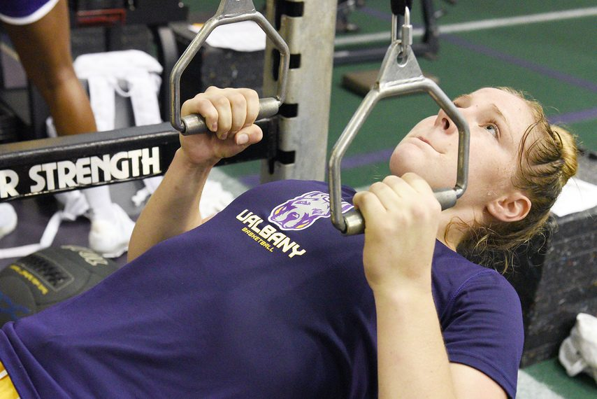 UAlbany women's basketball player Abby Ray is shown during a workout in Albany on Thursday, July 29, 2021.