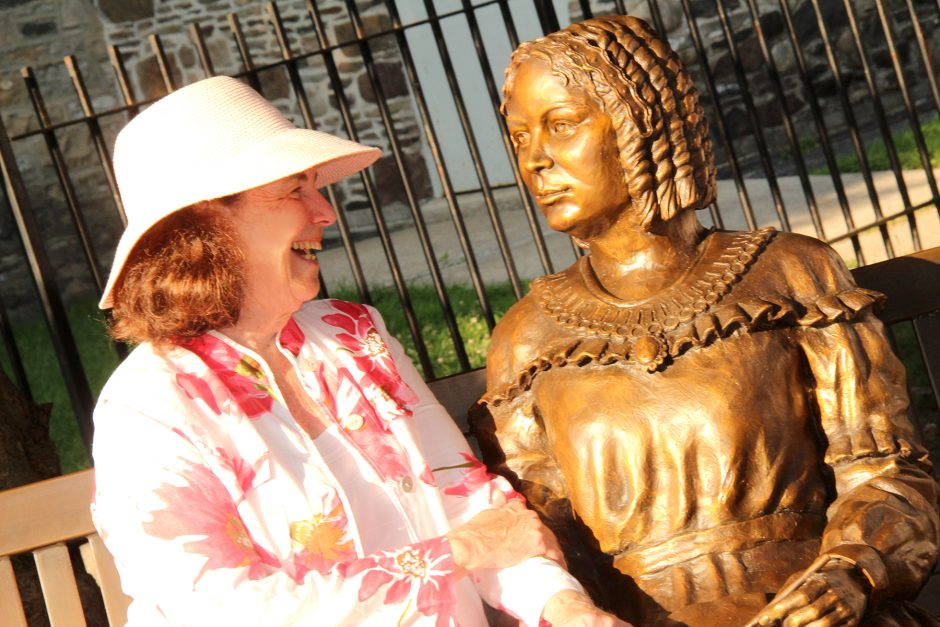 Coline Jenkins views the newly-installed statue of her great-great-grandmother Elizabeth Cady Stanton.