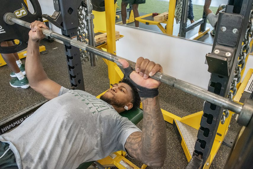 Siena College men's basketball player Anthony Gaines works out at Siena College in Loudonville on Tuesday, June 29, 2021.