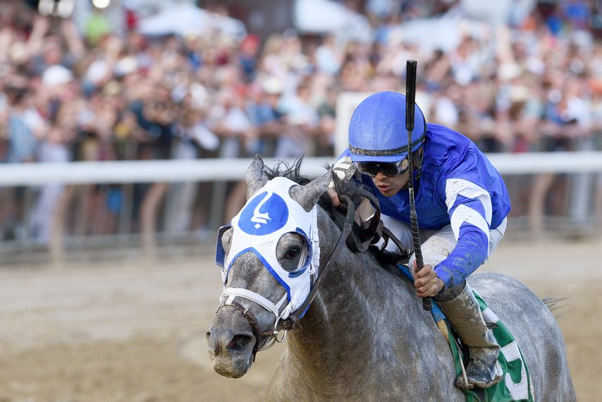 Essential Quality, shown winning the Jim Dandy under Luis Saez, is the 4-5 favorite in Saturday's Travers at Saratoga.