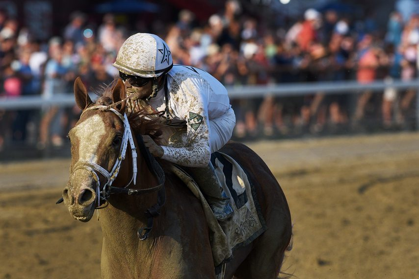 Amercianrevolution and jockey Luis Saez roll to victory in the Albany on New York Showcase Day at Saratoga on Friday.