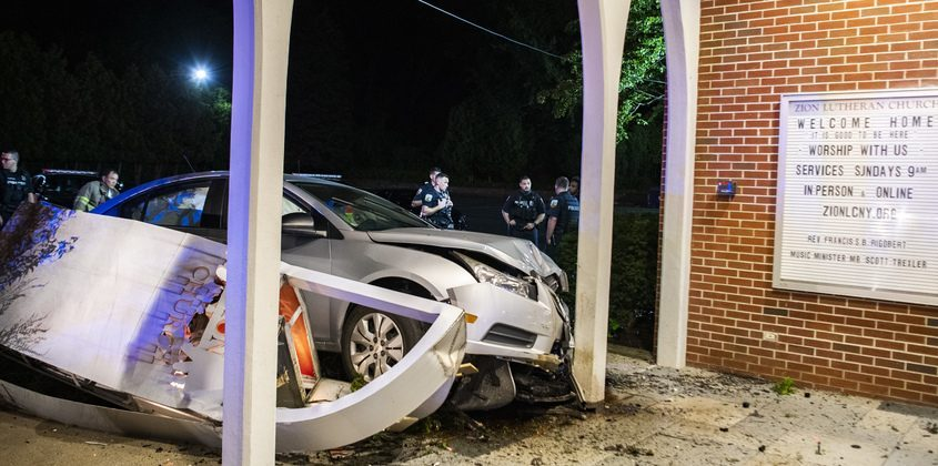 The driver of this car reportedly fell asleep at the wheel, lost control and struck the front of the Zion Lutheran Church on Nott Terrace at 4:30 a.m. Saturday. He was taken by Mohawk Ambulance to Ellis Hospital for evaluation of minor injuries.