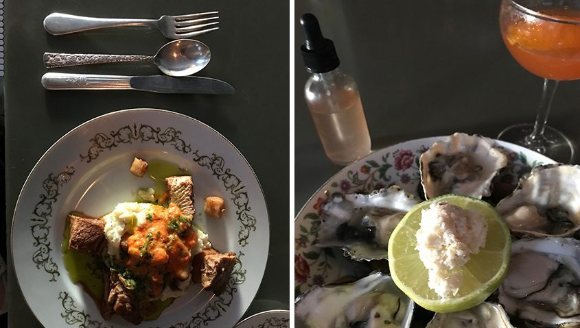 Left:Pork belly and bay scallops on a vintage plate at Farmacy (all the plates and silverware are mix-and-match, with patterns you'd find in grandma's attic); Right: Oysters with freshly ground horseradish and a mignonette sauce in a dropper bottle. (Karen Bjornland/For The Daily Gazette)