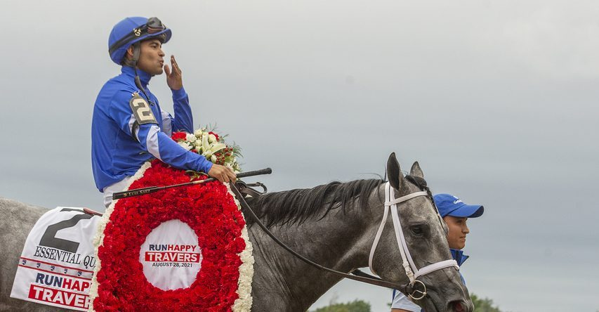 Essential Quality, ridden by Luis Saez, trained by Brad Cox, after winning the Grade I 152nd running of Travers Stakes at Saratoga Race Course in Saratoga Springs on Saturday, August 28, 2021.