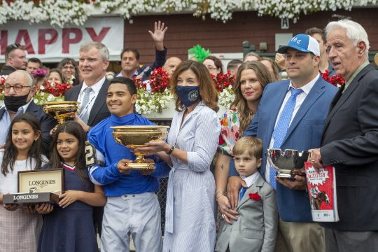 Essential Quality, ridden by Luis Saez, trained by Brad Cox after winning the Grade I 152nd running of Travers Stakes at Saratoga Race Course in Saratoga Springs on Saturday, August 28, 2021.