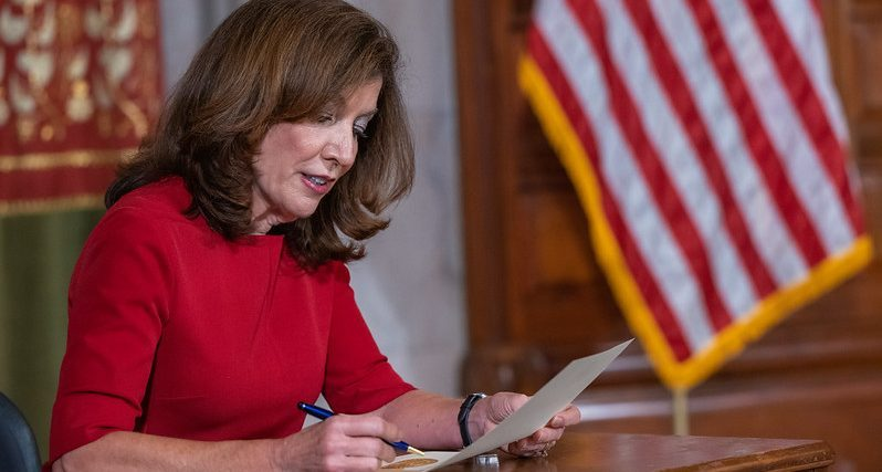 Gov. Kathy Hochul on Tuesday signs an order convening an extraordinary session of the state Assembly and Senate to deal with pressing issues starting at noon Wednesday.